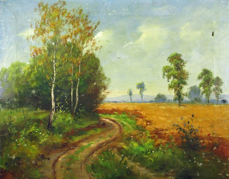OIL ON CANVAS SIGNED UNREADABLE COUNTRY ROAD SCENE
