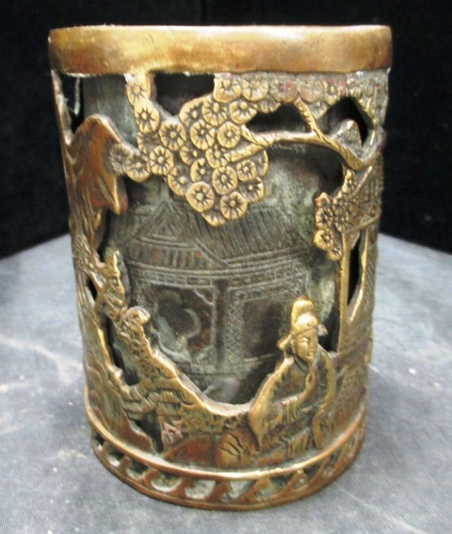 CHINESE BRONZE MING STYLE BRUSH POT