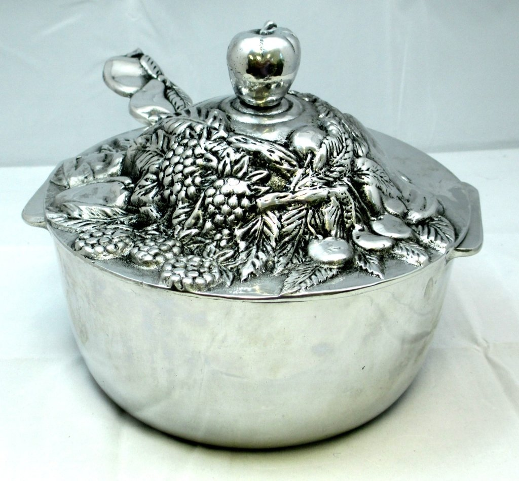 SILVER PLATED BOWL WITH FRUIT ENGRAVED LID & SPOON
