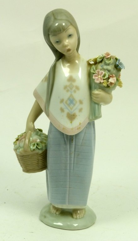 LLADRO GIRL WITH BASKET AND BOUQUET OF FLOWERS