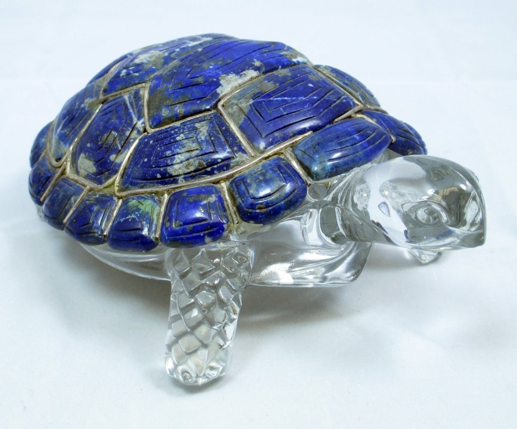 RUSSIAN LAPIS LIAZULI TORTOISE WITH SILVER CRYSTAL
