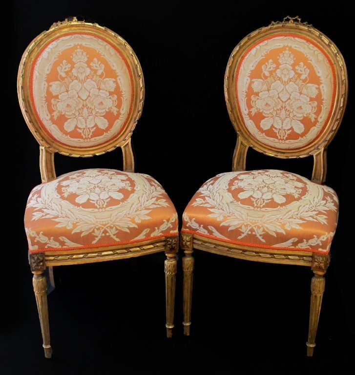 PR FRENCH ORIGINAL ANTIQUE  LOUIS 14TH SIDE CHAIRS