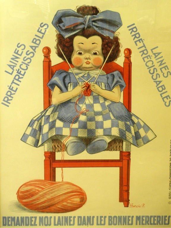 """R. HUNSIC """"AUX LANES ECOSSAISES"""" POSTER 1928"""