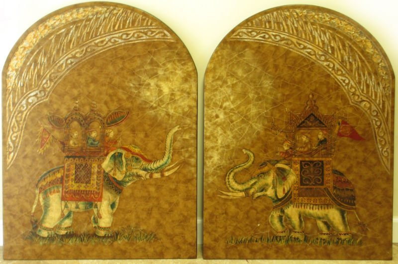 PR  ARCH SHAPED WOOD WALL PLAQUES PERSIAN ELEPHANT