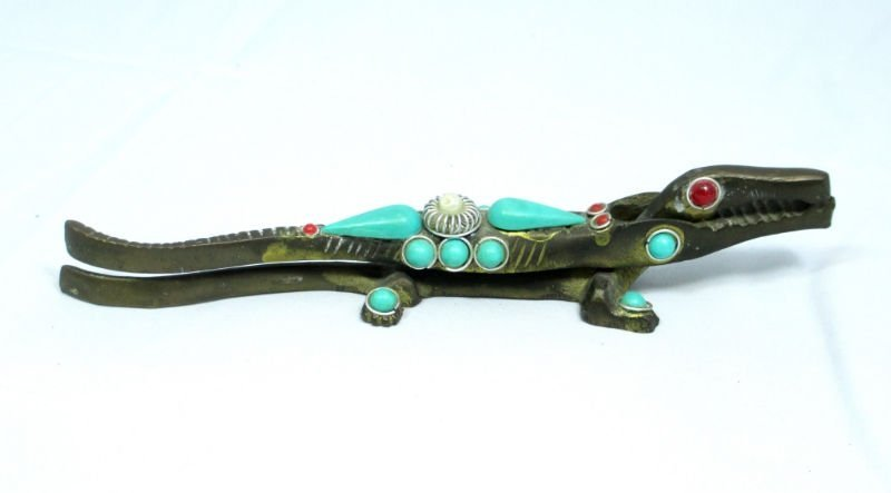 ANTIQUE CROCODILE  MADE OF BRASS PEARLS TURQUOISE