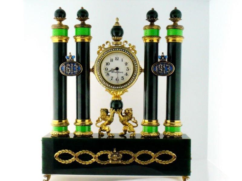 HUGE RUSSIAN SILVER NEPHRITE ENAMEL TABLE CLOCK