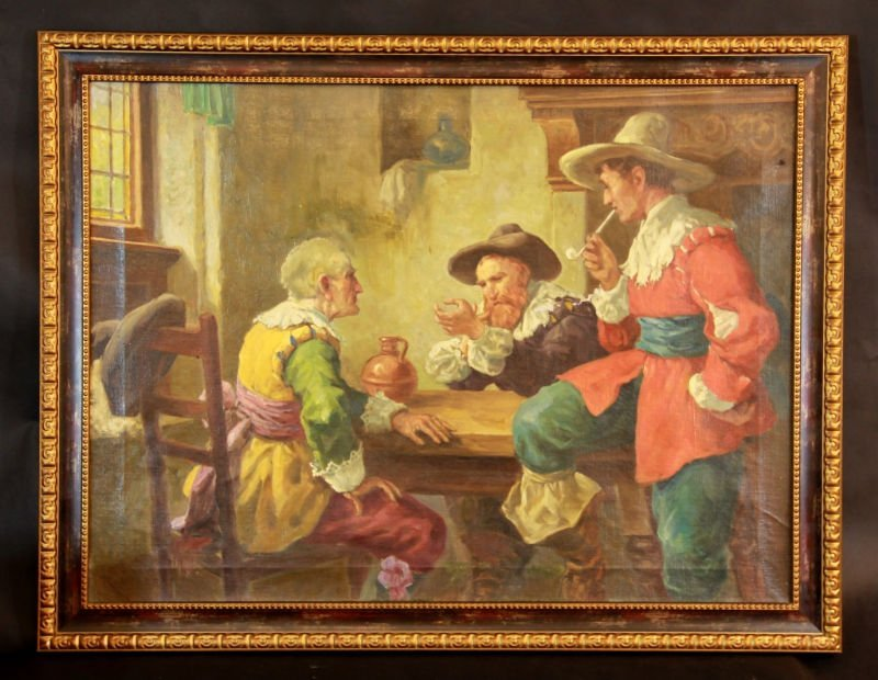 """ANTIQUE OIL ON CANVAS BY R. WEEBER """" THREE MEN"""""""