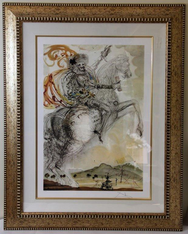 "SALVADOR  DALI COLORED LITHOGRAPH "" THE HORSEMAN"""
