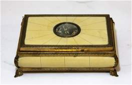 ANTIQUE IVORY MUSIC BOX  WITH HAND PAINTED PICTURE