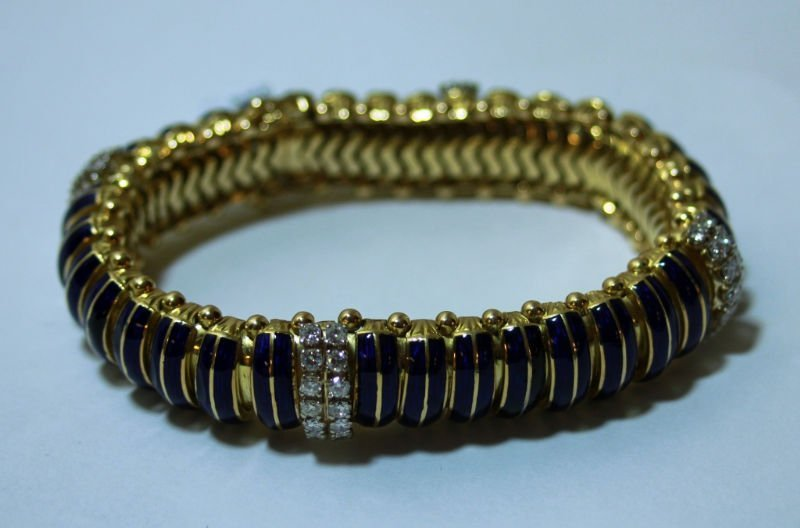 LADIES 14K GOLD BLUE ENAMEL & DIAMOND BRACELET