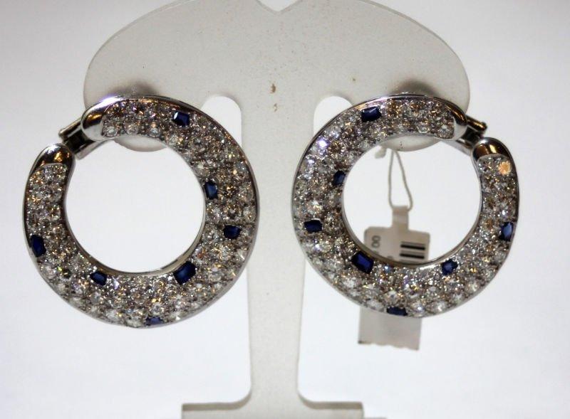 Pr PLATINUM BLUE SAPPHIRE & DIAMOND EARRINGS