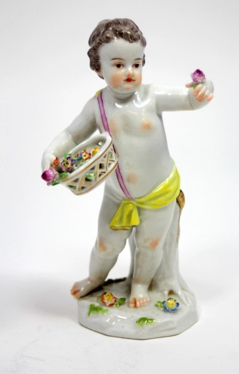 MEISSEN FIGURINE OF BOY WITH BASKET OF FLOWERS