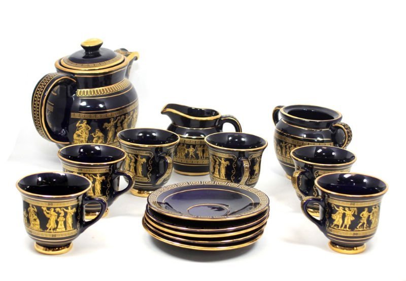 GREEK COBALT BLUE & GOLD TEA SET