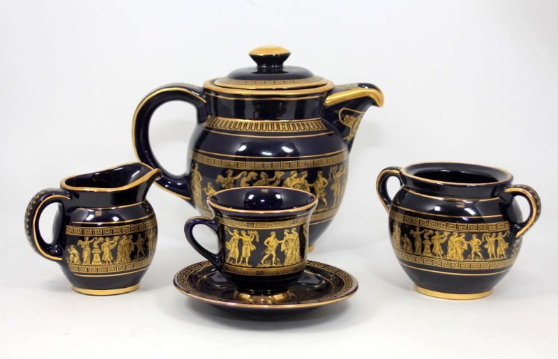 GREEK COBALT BLUE & GOLD TEA SET - 2