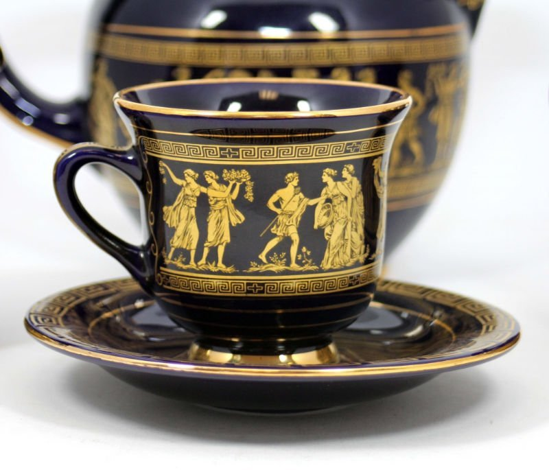 GREEK COBALT BLUE & GOLD TEA SET - 4