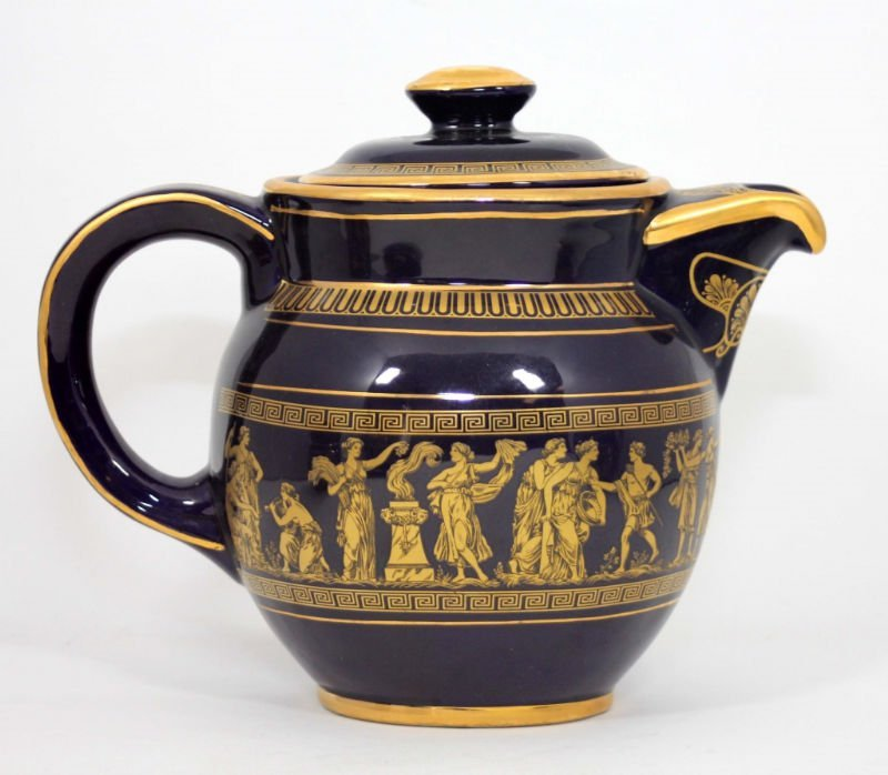 GREEK COBALT BLUE & GOLD TEA SET - 5