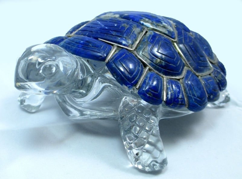 RUSSIAN LAPIS LIAZULI TORTOISE  SILVER & CRYSTAL