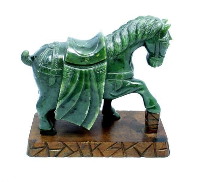 CHINESE NEPHRITE CERMONIAL HORSE FIGURE