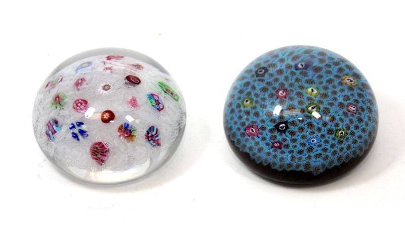 2 BACARRAT MILLIEFLORI PAPERWEIGHTS
