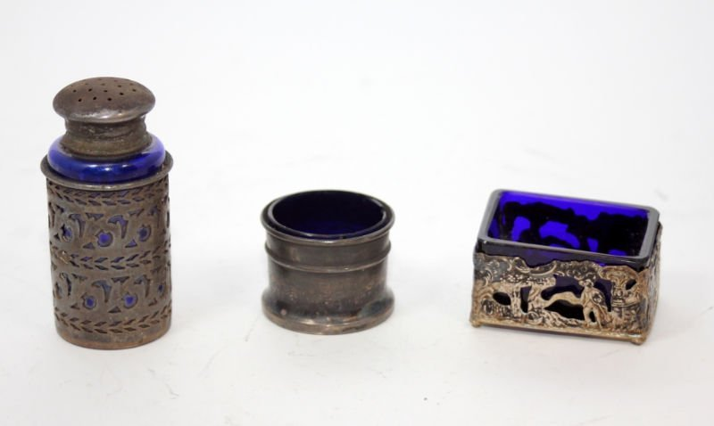 3 ANTIQUE 19TH CENTURY STERLING & COBALT ITEMS