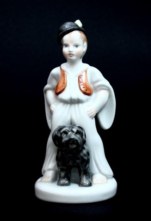 HEREND SHEPARD BOY WITH PULI DOG