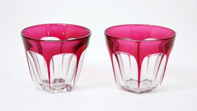 PAIR OF BACARRAT ROSE & CRYSTAL GLASSES