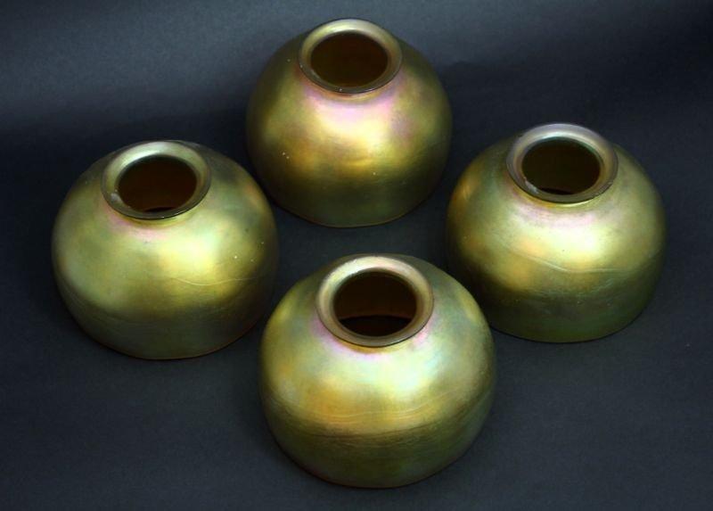 4 STEUBEN AURENE LAMP SHADES