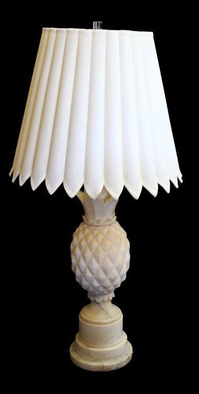 Early 20th C Italian White Marble Pineapple Lamp Apr 08