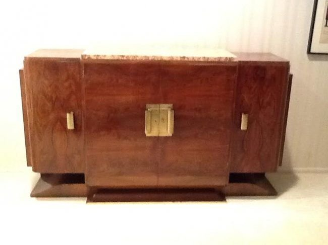 VERY RARE FRENCH ART DECO BURL WOOD & MARBLE BUFFT