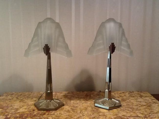 PR FRENCH ART DECO STYLE FROSTED GLASS GLASS LAMPS