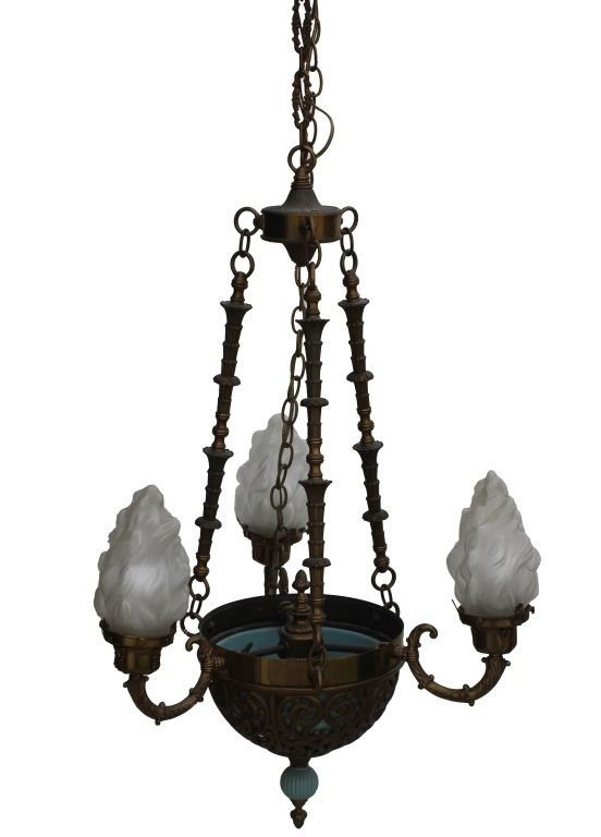A BRASS & CRYSTAL THREE ARM CHANDELIER