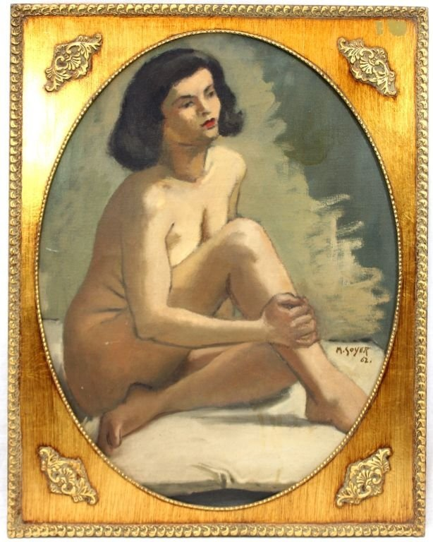 MOSES SOYER OIL PAINTING ON CANVAS OF SEATED NUDE