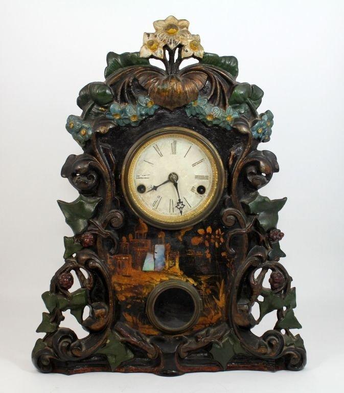 ANTIQUE TERHUNE & EDWARDS IRON FRONT MANTLE CLOCK