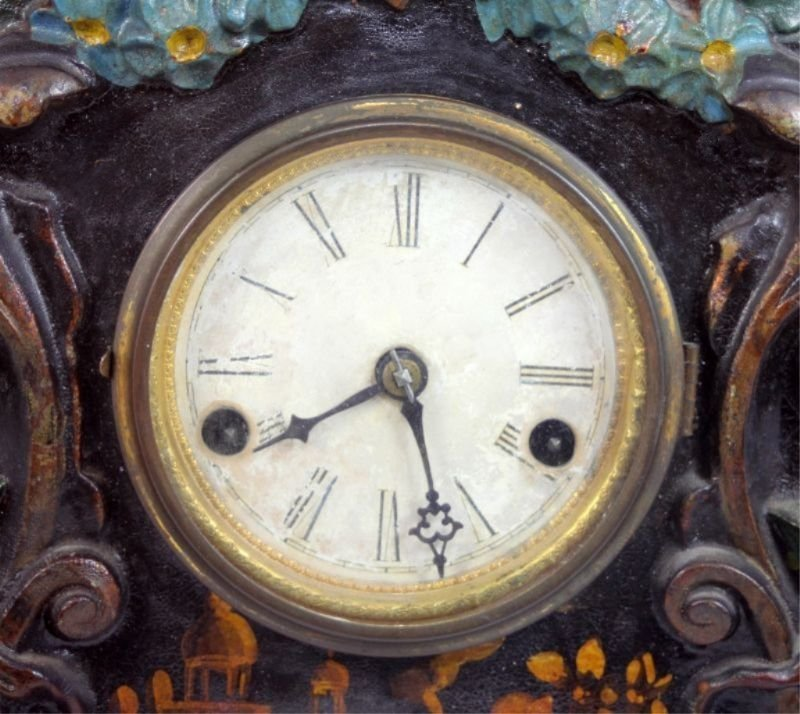 ANTIQUE TERHUNE & EDWARDS IRON FRONT MANTLE CLOCK - 4