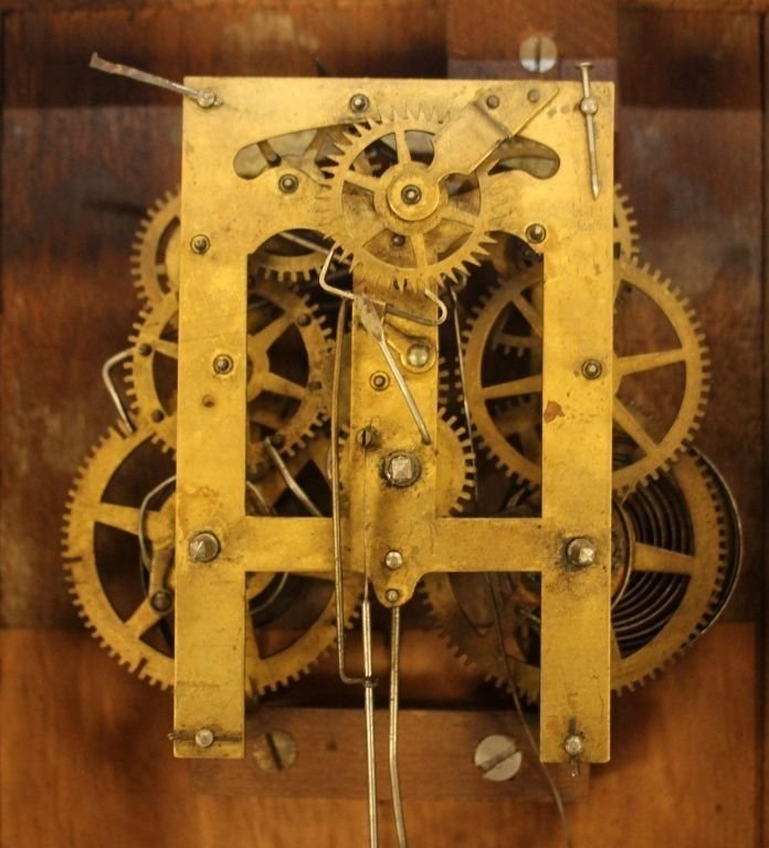 ANTIQUE TERHUNE & EDWARDS IRON FRONT MANTLE CLOCK - 8
