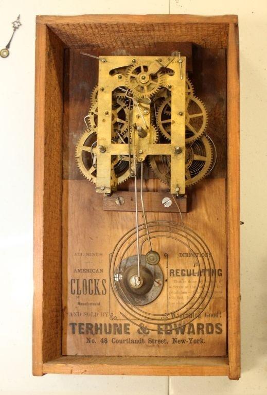 ANTIQUE TERHUNE & EDWARDS IRON FRONT MANTLE CLOCK - 9