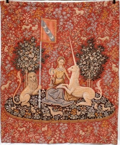 ANTIQUE PERSIAN WALL TAPESTRY OF WOMAN w UNICORN