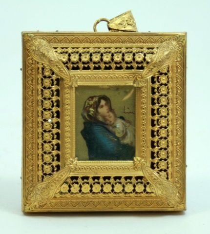 OLD REUGE MUSIC BOX PENDANT w MADONNA & CHILD