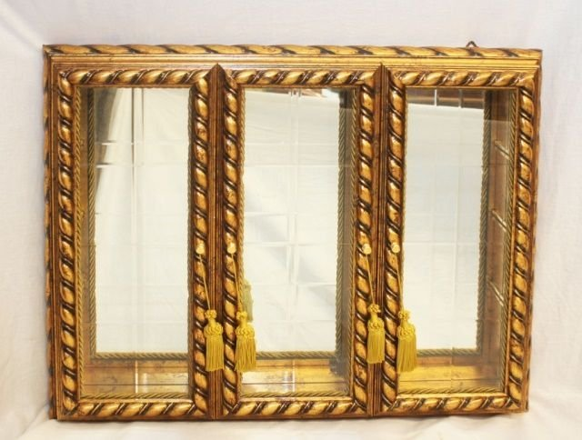 HORCHOW ITALY GILT WOOD CURIO WALL DISPLAY CABINET