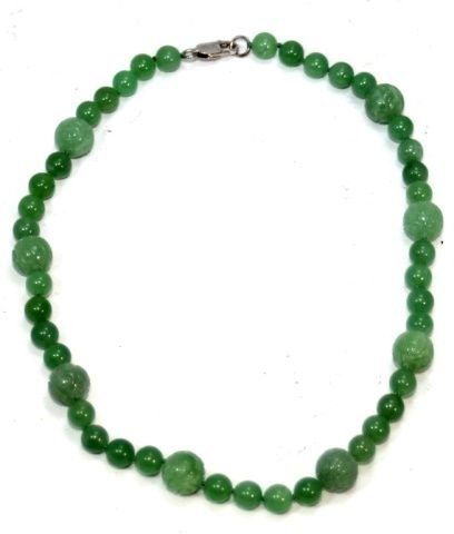 CHINESE GREEN JADEITE BEADED NECKLACE, 925 CLASP