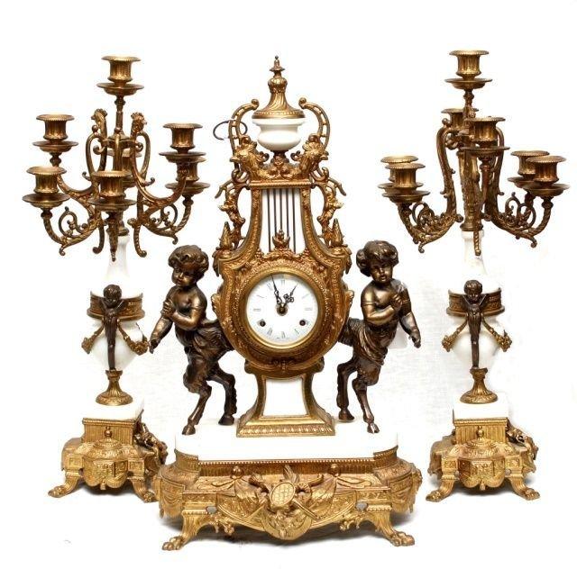 20th CENTURY FRANZ HERMLE CLOCK GARNITURE SET