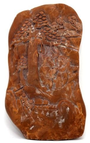 CHINESE CARVED SHOUSHAN STONE SCENIC PLAQUE