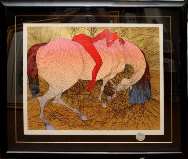 GUILLAUME AZOULAY LITHOGRAPH OF WOMAN ON HORSE