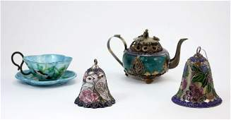 LOT OF 4 OLD CHINESE SILVER ENAMELED ITEMS
