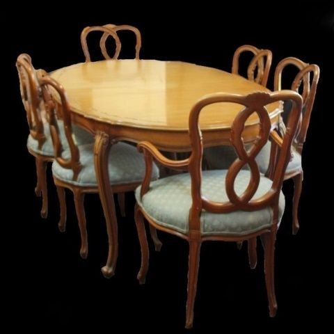 MID CENTURY AMERICAN WOODEN DINNER TABLE w CHAIRS