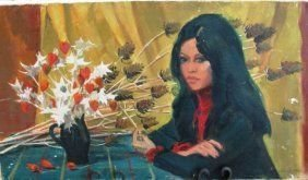 ANDRE CHOCHON OIL PAINTING ON CANVAS OF WOMAN