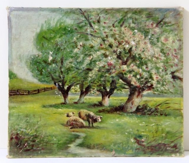 19th C L ANDSCAPE OIL PAINTING ON CANVAS OFSHEEP