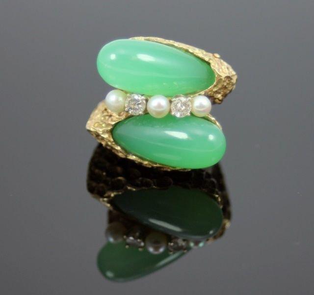 EXQUISITE CHINESE EMERALD GREEN JADEITE 14K RING