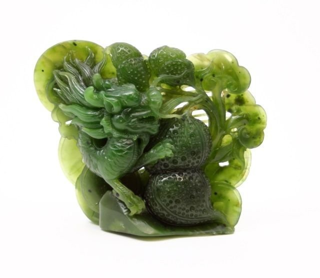 CHINESE SPINACH JADE CARVING OF DRAGON & GOURD