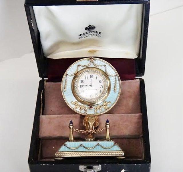 RUSSIAN IMPERIAL SILVER ENAMEL TABLE CLOCK